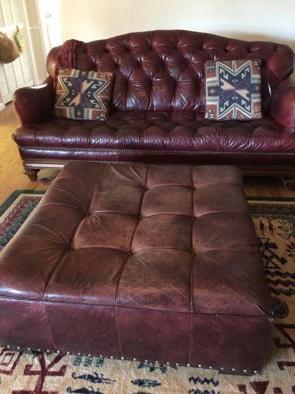Thomasville Leather Button Tufted Sofa From The British Gentry