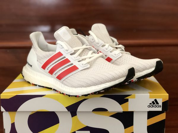 6550782781081 Adidas Ultraboost 4.0 DB3199 Chalk White Active Red Stripe Men s Size 8.5