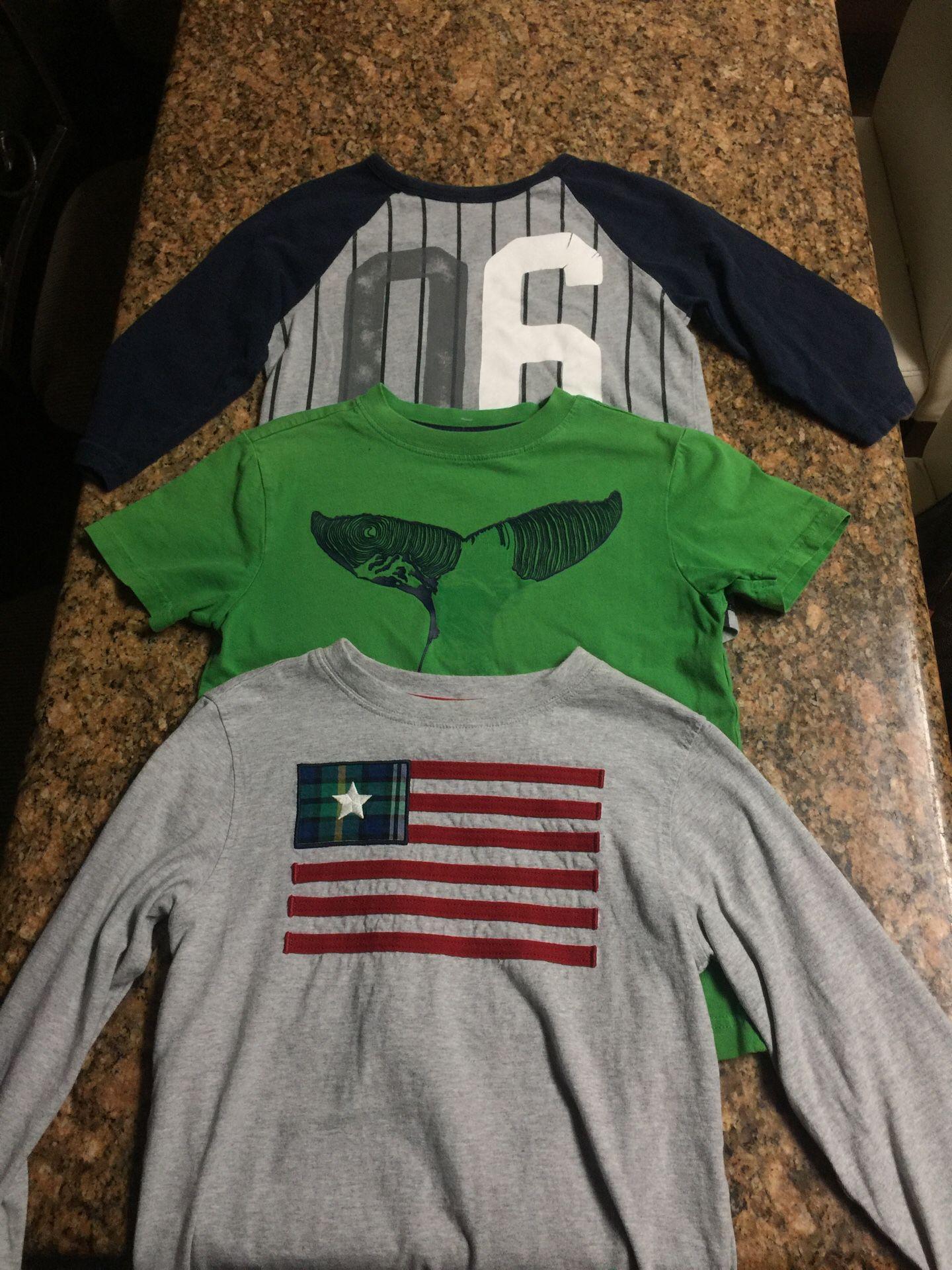 Boys Gymboree, green short sleeve, 3/4 sleeve and long sleeve Size 7