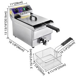 10L Electric Deep Fryer with Drain Stainless Steel French Fries Fried Chicken Wings   Thumbnail