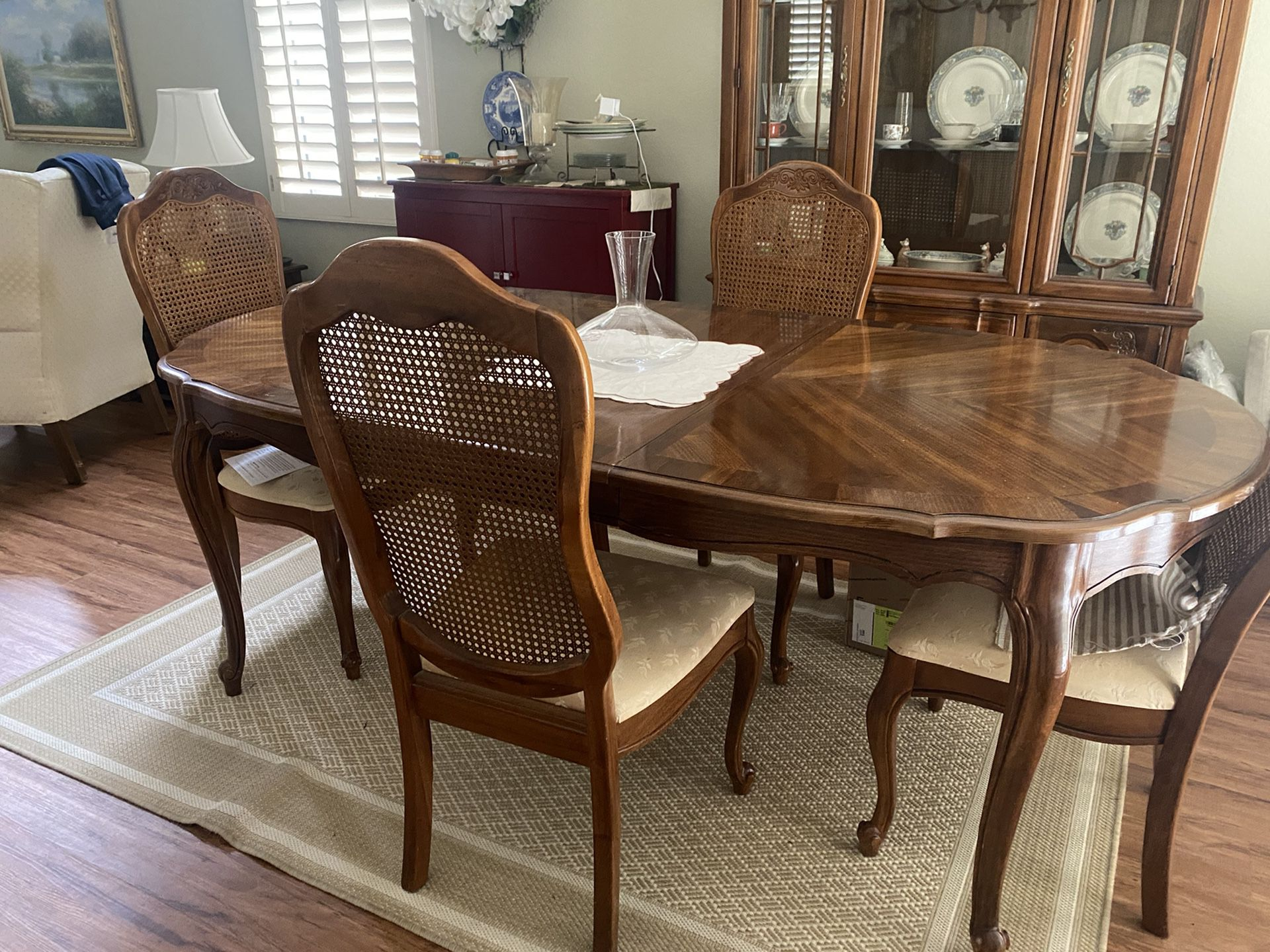 French Provincial  Dining Room Set With 6 Chairs And Marching China Cabinet