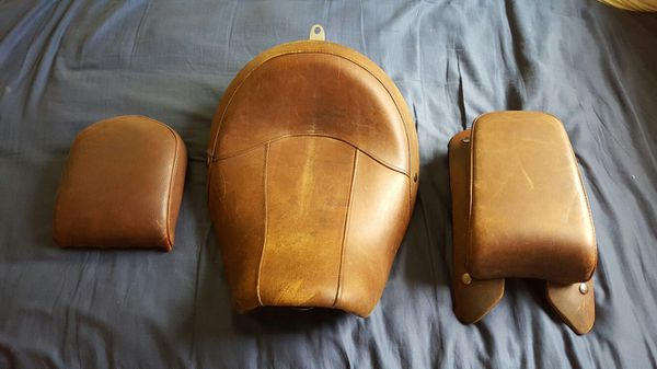 Harley Davidson Distressed Brown Leather Seat Set For Sale In North Canton OH
