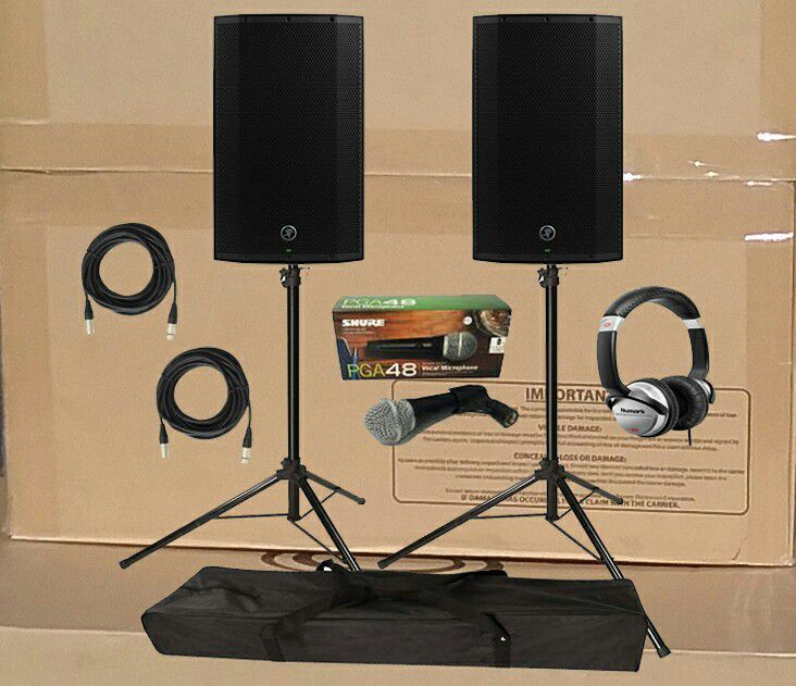 Mackie Powered Speaker Thump Series Cables Tripods Numark Headphones Tripods Shure Microphone Package Deal