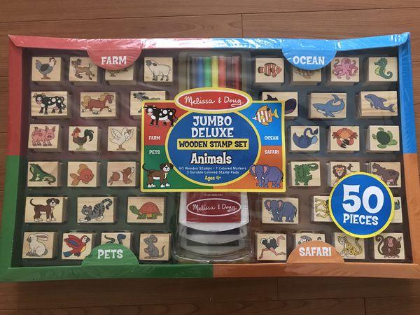 Melissa And Doug Jumbo Deluxe Wooden Stamp Set Brand New