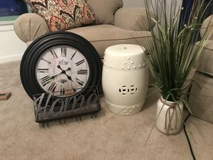 """Decor - faux plant, oversized wall clock, """"home"""" wall wine and glass holder, ceramic cylinder for Sale in Arlington, VA"""