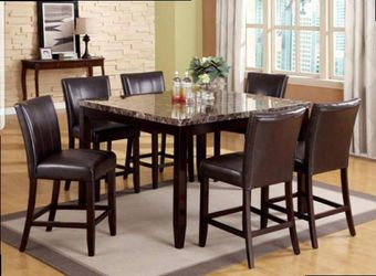 CLOSEOUTS LIQUIDATIONS SALE BRAND NEW COUNTER HEIGHT 7PC DINING TABLE SET INCLUDES TABLE AND 6 CHAIRS ALL NEW FURNITURE CM2721 Thumbnail