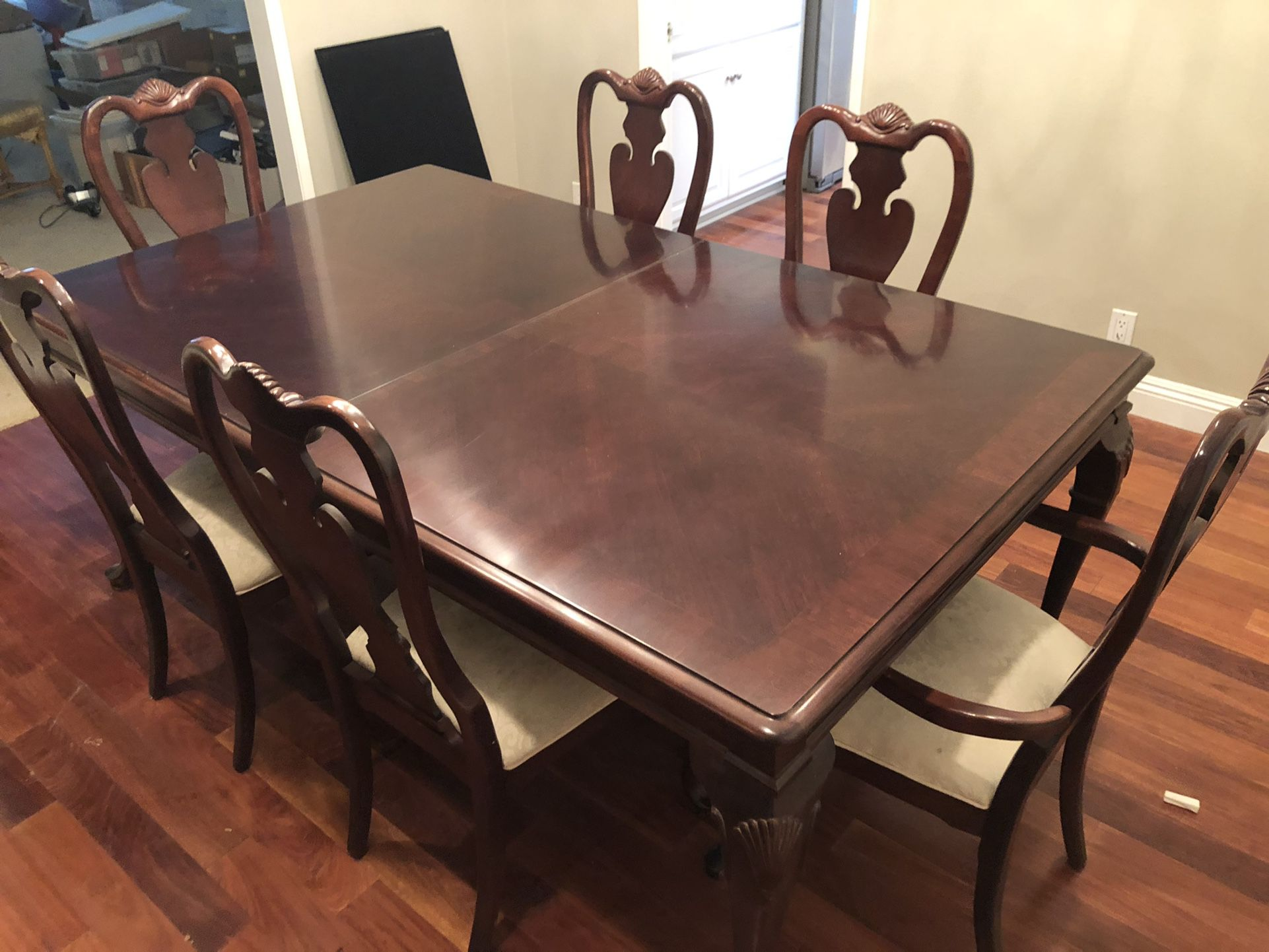 Hutch dining room table, chairs, and china cabinet