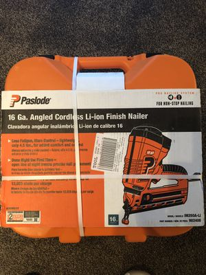 Photo New never opened paslode 16 ga. Angled cordless nailer