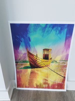 The Boat at Shore Art Portrait Print (18*24) for Sale in Washington, DC