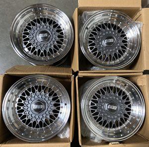"Photo 15"" BBS style STR606B (4x100/114) fits Acura, Honda, Toyota, Datsun, Nissan, Scion"