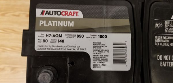 Autocraft Battery Review >> Autocraft Platinum Agm Battery Group Size H7 850 Cca For Sale In Philadelphia Pa Offerup