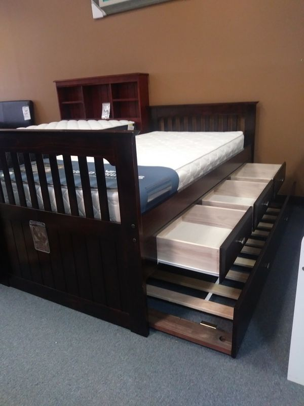Twin Rake Bed With 6 Drawer Underneath Storage Or Three Trundle Option