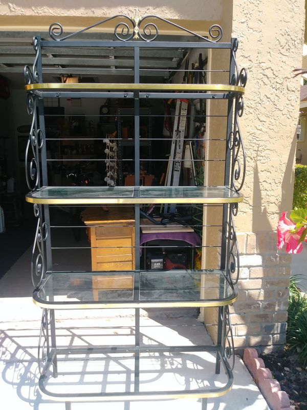 Metal Bakers Rack with Glass Shelves (Furniture) in Pompano Beach ...