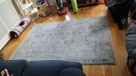 Grey/silver textured/patterned area rug (5x7) Thumbnail