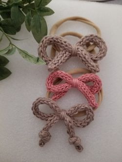 Knitted bow headband Set Thumbnail