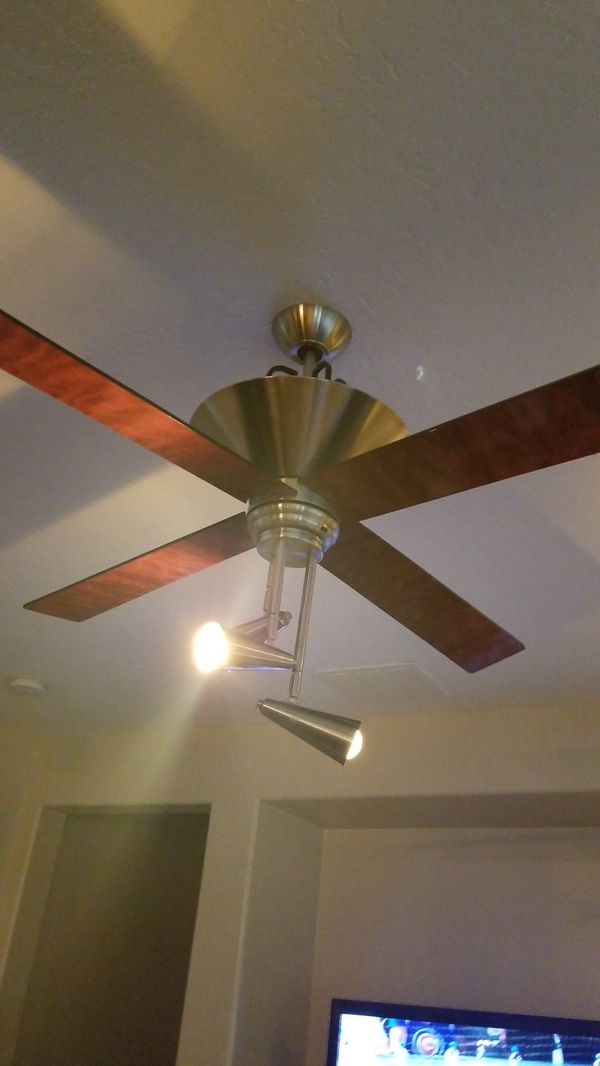 Brushed steel ceiling fan with shiny cherrywood blades 3 speed for brushed steel ceiling fan with shiny cherrywood blades 3 speed for sale in las vegas nv offerup aloadofball Image collections