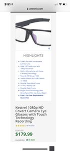 88d0e5b136f Kestrel 1080p HD Covert Camera Eye Glasses with Touch Technology Recording  for Sale in City of Industry