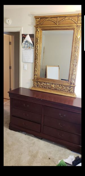 Dresser and Gold plated mirror for Sale in Capitol Heights, MD