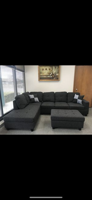 New sectional sofa Dark Grey Linen with Ottoman for Sale in SeaTac, WA