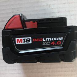 Brand New Milwaukee M18 Red Lithium XC 4.0 AH Battery       60 Firm on Price      60   Firme en Precio Thumbnail