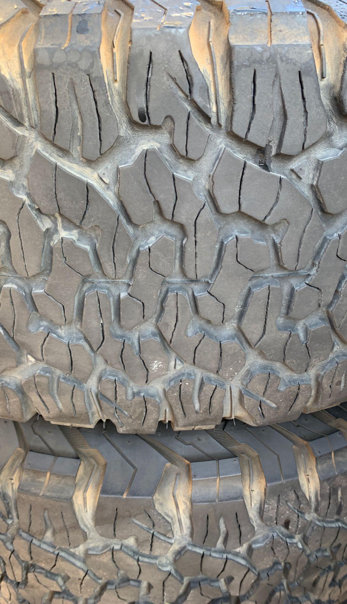 "4 rims and tires 16"" Ford 2500 3500 8 lugs tires 70% tread bfgoodrich ko2 305/70r16"