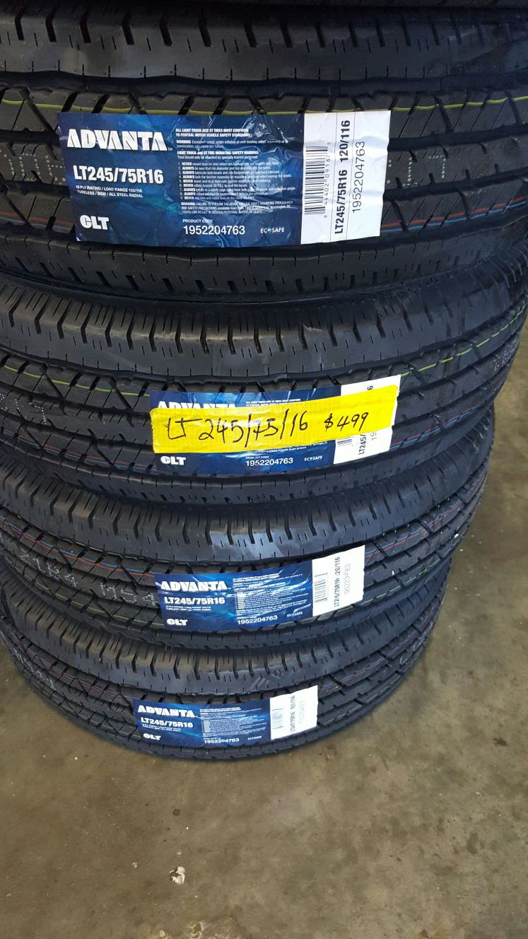 LT 245/75/16 All New Tires on Sale. Free Installation