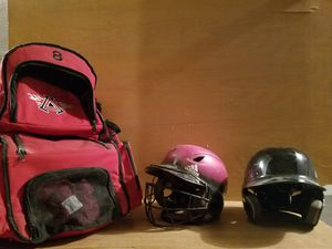 Baseball bag and two helmets for Sale in Grain Valley, MO