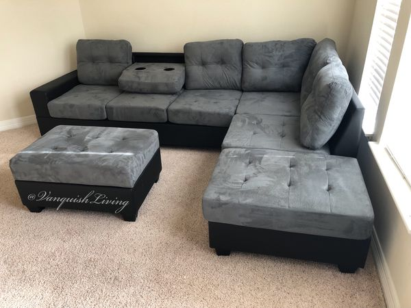 Grey Linen Reversible Sectional Sofa - Sectional With Cup ...
