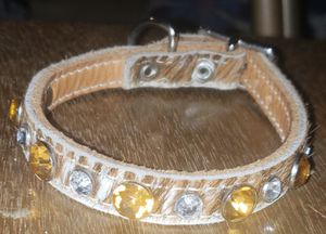 Chick Billy Bling Handmade Leather & Rhinestone Small Dog Collar for Sale in Yelm, WA