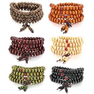 MOWOM 1PC 8mm Wood Bracelet Link Wrist Necklace Chain Tibetan Buddhist Sandalwood Bead Prayer Buddha Mala Chinese Knot for Sale in Durham, NC