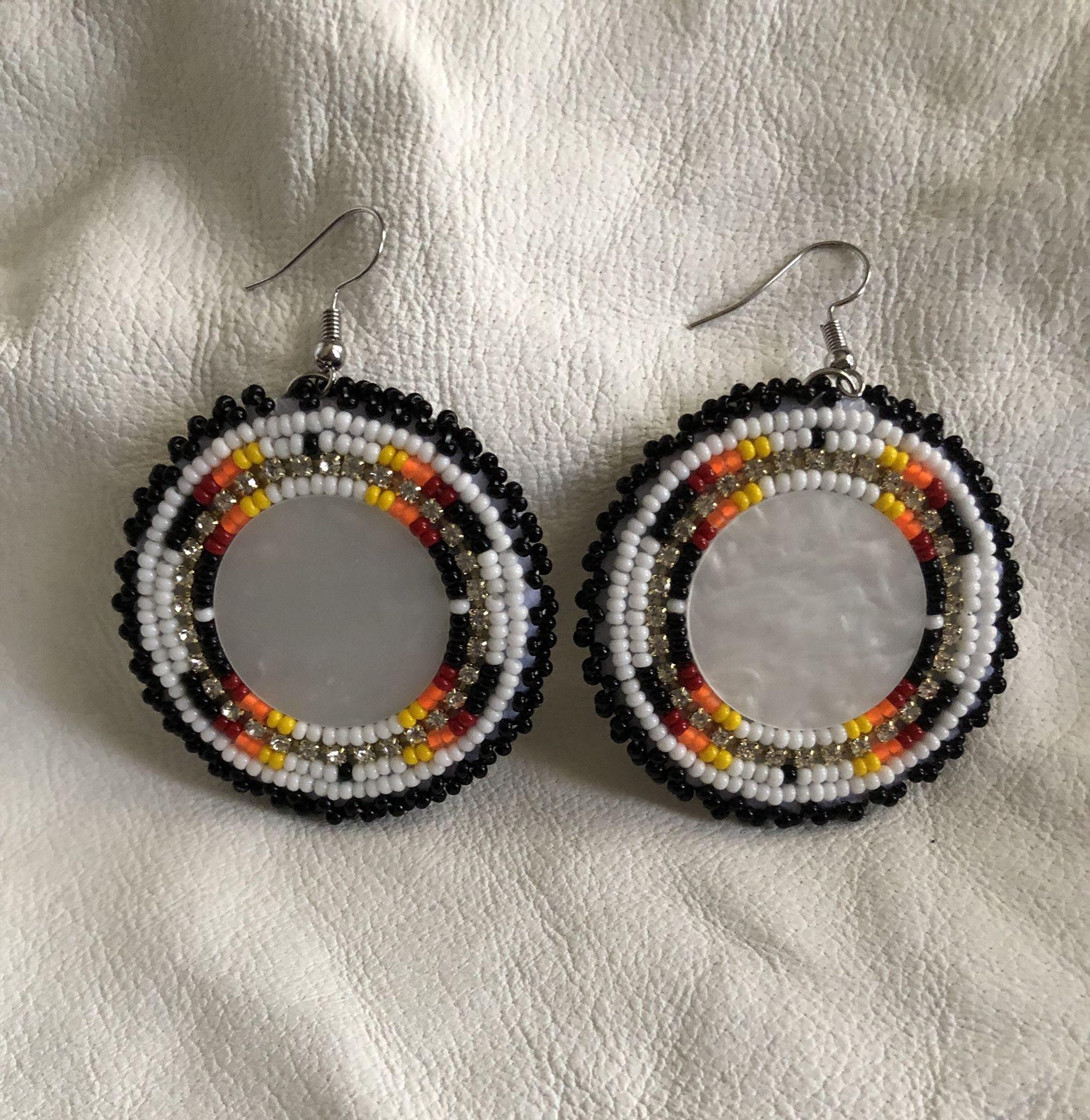 Beaded white earrings