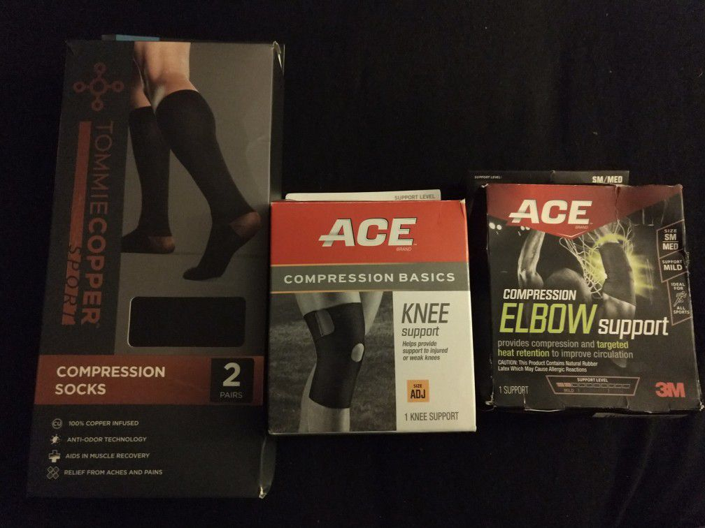 Compression socks, knee support, and elbow support