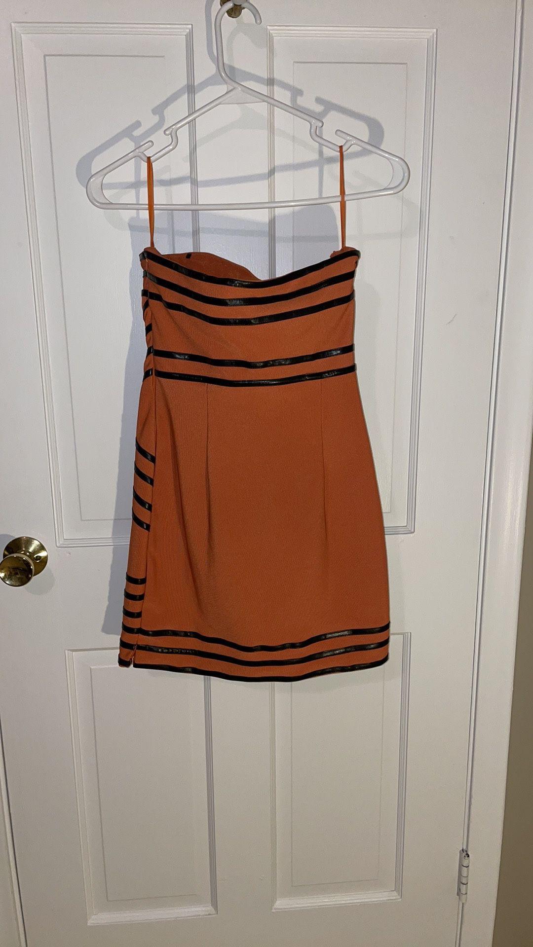 Orange Striped Club Dress