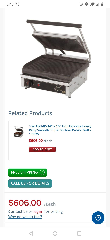Restaurant commerical panini grill press