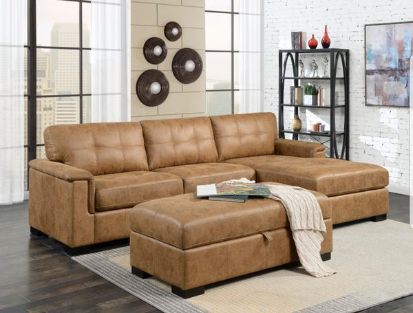 NEW!! Saddle Brown Faux Leather Sofa Sectional With Chaise ...