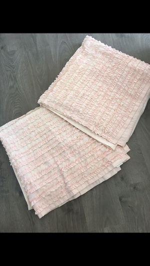 Pink ruffle pottery barn style curtains for girls room / baby room- 2 panels for Sale in Apex, NC