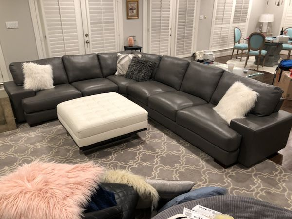 Cantoni Gray American Leather Sectional Couch Sofa