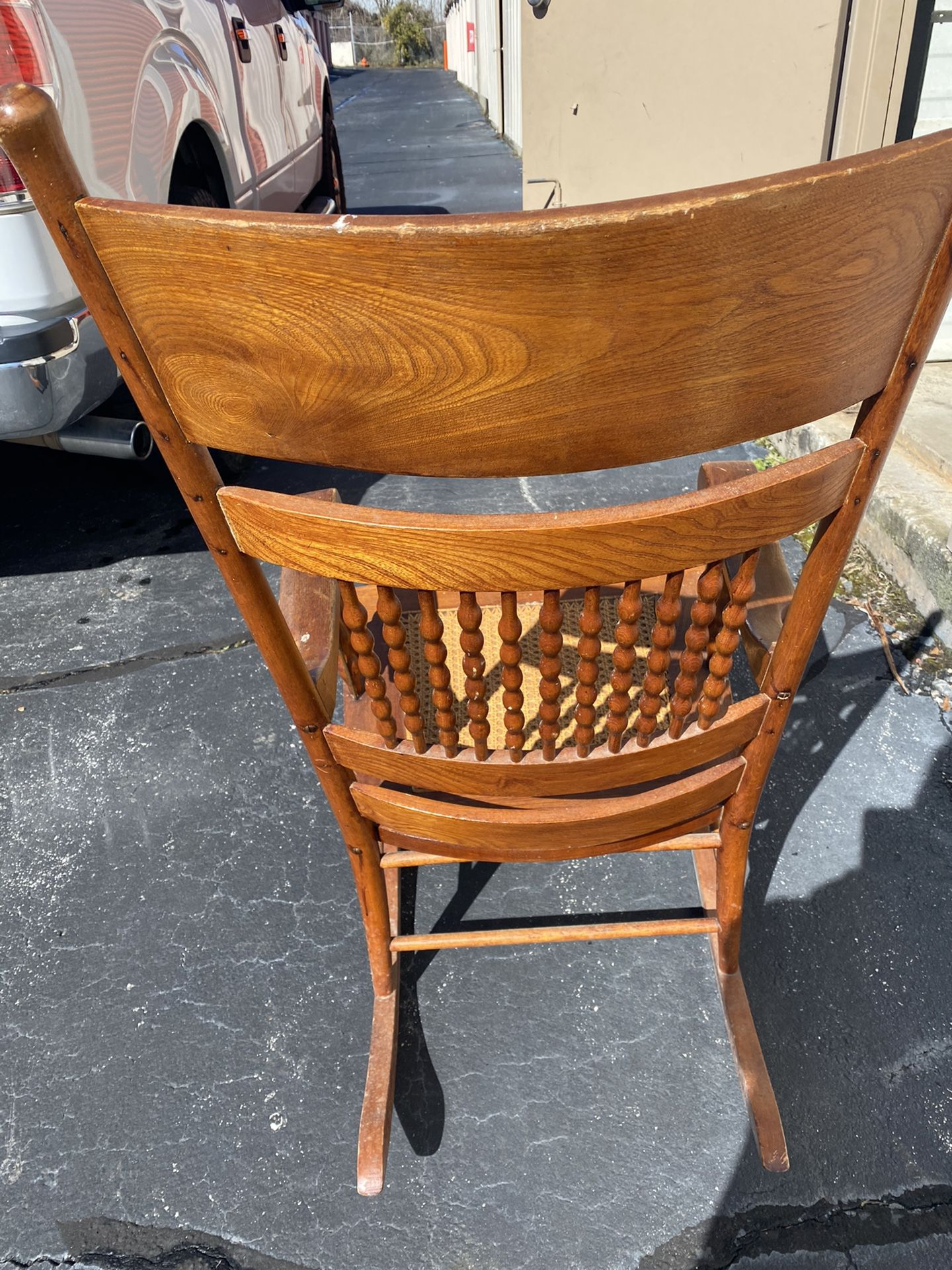 Vintage Wood And Cane Rocking Chair From 1940's