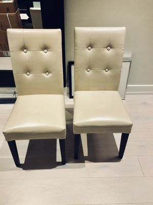 Ivory Leather Chairs (Set of 2) for Sale in Washington, DC
