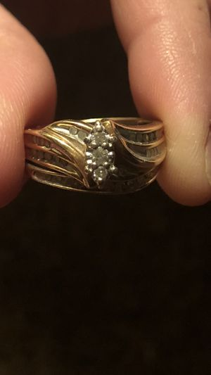 10k gold wedding ring set with diamonds, used for sale  Tulsa, OK