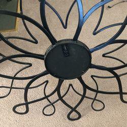 Black Metal Flower Motif Mirror  Thumbnail