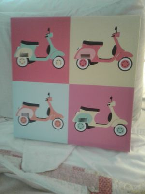 Cute as can be moped picture. Great for dorm rooms. I used for a beach themed bathroom for Sale in Las Vegas, NV