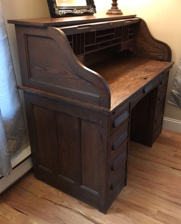 Roll Top Desk - 1890 Golden Oak Antique (Antiques) in North Andover, MA -  OfferUp - Roll Top Desk - 1890 Golden Oak Antique (Antiques) In North Andover