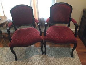 Two red upholstered chairs for Sale in Boonsboro, MD