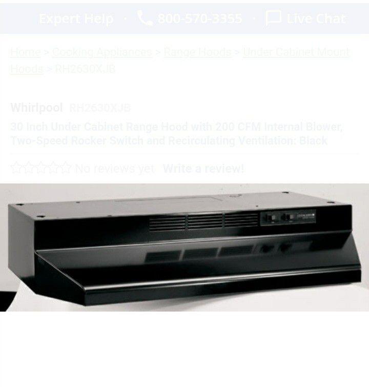 30 Inch Under Cabinet Range Hood with 200 CFM Internal Blower, Two-Speed Rocker Switch and Recirculating Ventilation: Black
