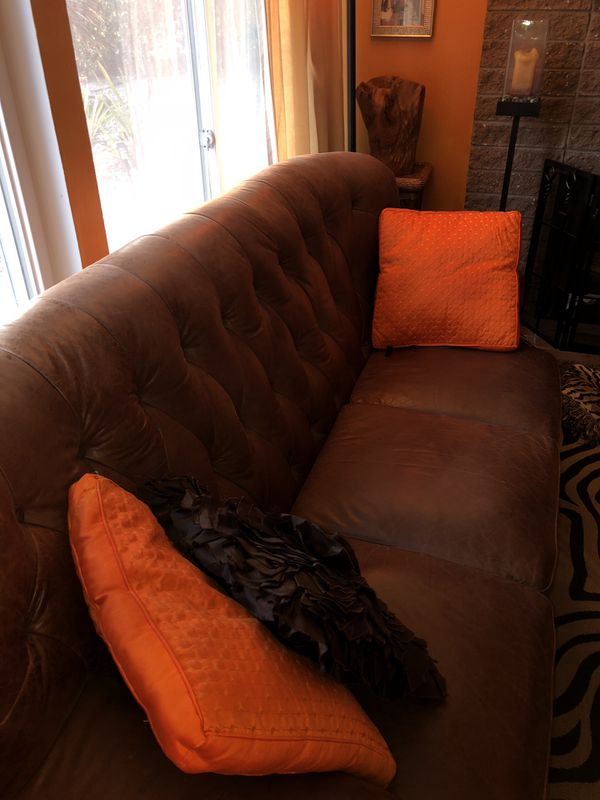 Marvelous Leather Sofa And Chair With Ottoman In Good Condition And Pabps2019 Chair Design Images Pabps2019Com