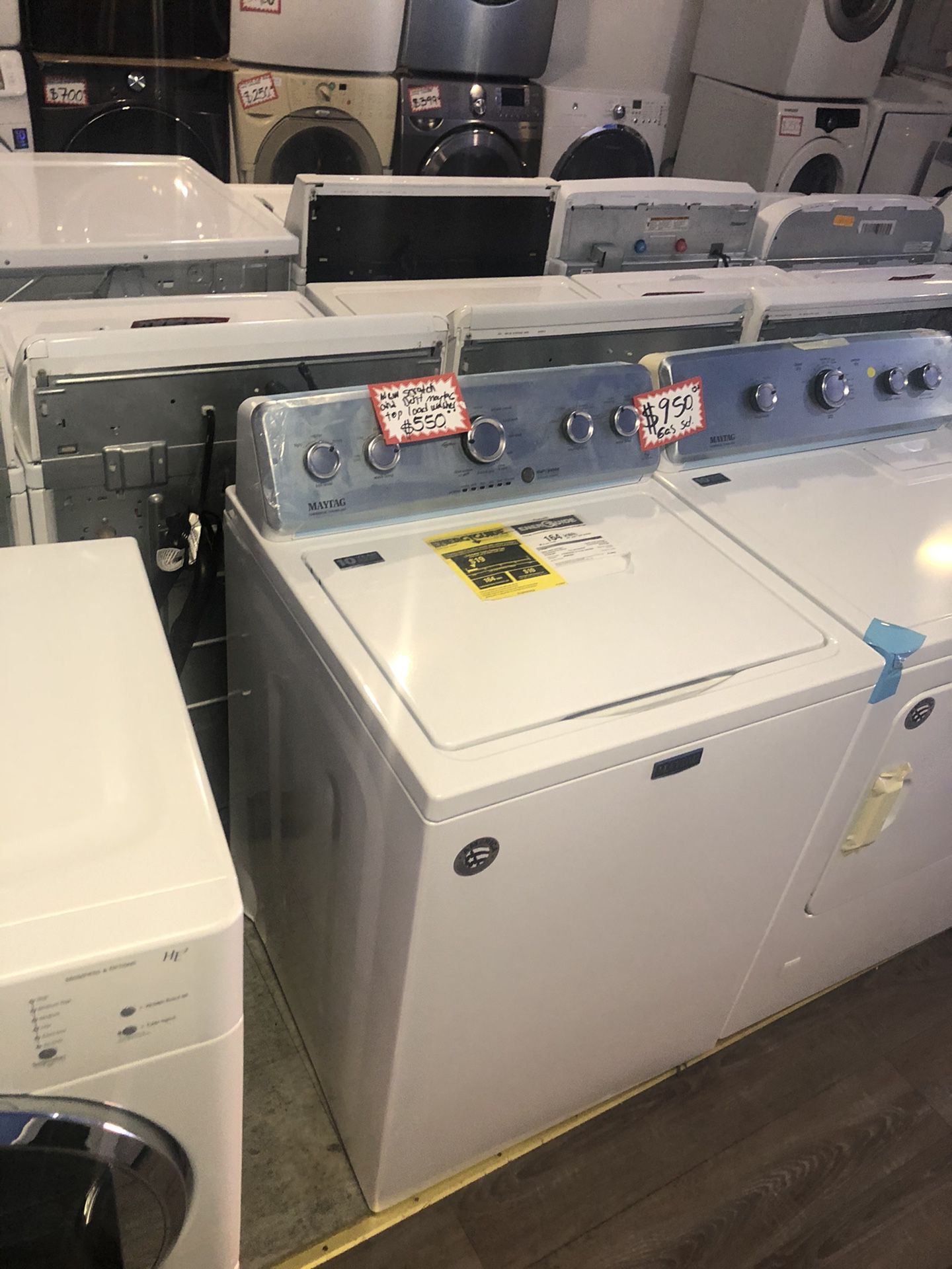 NEW SCRATCH AND DENT MAYTAG TOP LOAD WASHER WITH WARRANTY