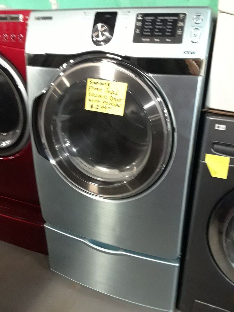 Samsung front load electric dryer with pedestal in excellent condition
