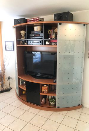 Photo MID CENTURY MODERN HI-END sliding WALL UNIT TV DISPLAY CABINET CURIO