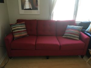 Red Couch Striped Pillows Also Included For In Iowa City Ia